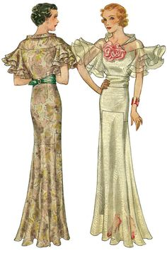 #T7653 - 1930s Evening Gown with Wing Sleeves Sewing Pattern - Retro Glamour