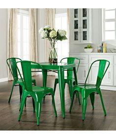 Green Amelia Five-Piece Café Dining Set
