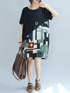 Casual Print Patchwork Loose Short Sleeve O-neck Dress For Women