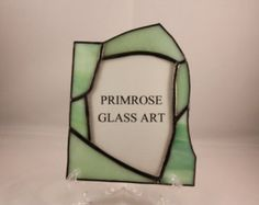Primroseglassart on Etsy - AEF #1007 Green and white mix glass, abstract picture frame