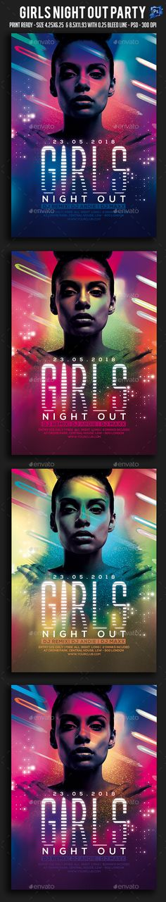 Girls Night Out Party Flyer Template PSD