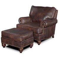 Tony's living room chair (no ottoman) Bradington-Young carrado chair 780-25 in Monte Cristo cigar leather and gun metal nailhead trim
