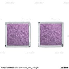 Purple Leather-look Silver Finish Cuff Links