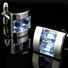 Sapphire sky Blue Crystals men's cufflinks