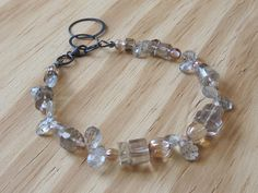Eye clean quartz gemstones bracelet for medium to by GemGlassCraft