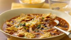This enchilada soup packs a punch when Old El Paso® products are added.  A Mexican dinner that's ready for cooking in 10 minutes.