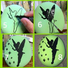 Tinkerbell painted kindness silhouette rock step by step