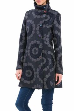 Sophisticated, straight-cut coat with high neck.  Multi-colored buttons add the Desigual touch! Chaq Emy-Lee Coat by DESIGUAL. Clothing - Jackets, Coats & Blazers - Coats Michigan