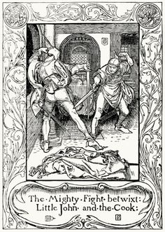 The mighty fight betwixt Little John and the cook.  From The merry adventures of Robin Hood, written and illustrated by Howard Pyle, New York, 1892.