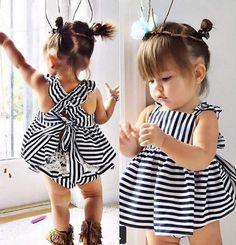 Navy Striped Baby Girl 2Pc Set