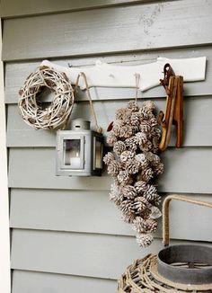 Winter decoration by Braxton Christmas Love, Country Christmas, Winter Christmas, Christmas Wreaths, Christmas Crafts, Christmas Decorations, Xmas, Christmas Urns, Winter House