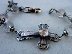 Clear Quartz Cross Bracelet by jewelryartsstudio on Etsy, $175.00