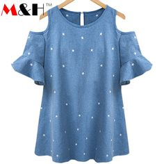 Sexy Off Shoulder Top Blouse Plus Size Haut Femme Casual Women Shirts 2016 Summer Tops Loose Ladies Tops Blusa Feminino Plus Size T Shirts, Plus Size Blouses, Plus Size Tops, Plus Size Women, Off Shoulder T Shirt, Shoulder Tops, Older Women Fashion, Womens Fashion, Fashion Tag