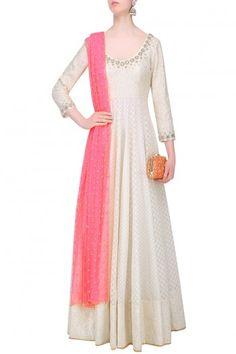 ABHINAV MISHRA Off White Chanderi Anarkali Kurta with Pink Embroidered Dupatta AU$852