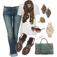 Absolutely love the entire thing, but the scarf, sandals and earrings called to me!