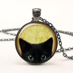 Cat Necklace, Cute Halloween Jewelry, Black Kitty Pendant (1664G1IN)