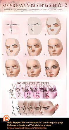 Nose tutorial vol 2 by sakimichan.deviantart.com on @DeviantArt