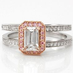 #KnoxJewelers and #ThinkSpring Pink Halo Cielo  - Knox Jewelers - Minneapolis Minnesota - Fancy Color Diamond Rings - Cielo, Emerald Cut, Rose Gold, Hand Engraved, Split Shank, Halo