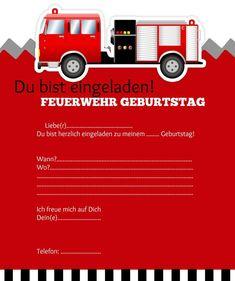 Einladungskarte Kindergeburtstag Feuerwehr Basteln