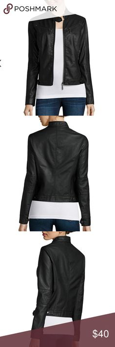 New Faux Leather Jacket Brand new with tags, Jou Joy 100% Vegan Leather Jacket. Give your favorite looks a rockstar finish with this pleather jacket, which features zippered pockets and princess, contoured seams for a form-flattering, bodycon fit. Jacket Features: 🔅mockneck 🔅collar with snap-tab closure 🔅zip front 🔅4 zippered pockets 🔅snap-tab closures at wrists 🔅princess contoured seams in front and back of jacket 🔅multi-stitching detail on shoulders and arms Jou Jou Jackets & Coats