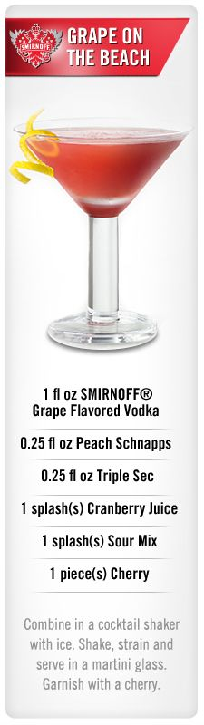 Smirnoff Grape On The Beach drink recipe with Smirnoff Grape flavored vodka, peach schnapps, triple sec, cranberry juice, sour mix and cherry. Beach Drink Recipes, Beach Drinks, Drinks Alcohol Recipes, Fun Drinks, Beverages, Liquor Drinks, Vodka Cocktails, Non Alcoholic Drinks, Cocktail Drinks