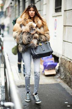 Showgoer  Similar Coat: CO  Street Chic: Milan Fall 2013 Street Style