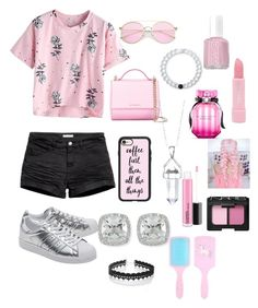 """""""Pink n pink"""" by ftawakol ❤ liked on Polyvore featuring adidas Originals, H&M, Givenchy, Casetify, Lokai, Frederic Sage, Bridge Jewelry, WithChic, Essie and Victoria's Secret"""