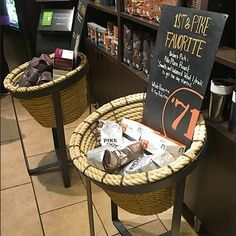 Coffee Cup Holder, Cup Holders, Coffee Cups, Rope Basket, Store Fixtures, Starbucks Coffee, Wicker Baskets, Retail, Coffee Mugs