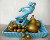 Art Deco Nude Lady Dancer Flower Frog With Matching Dish Floral Arrangement Centerpiece Vintage Ceramic Woman Made In USA Dancing Woman