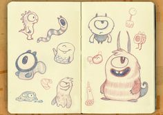 Sketches Monsters by Bixorama , via Behance