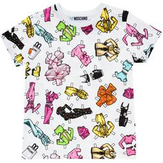 Moschino All Over Printed T-Shirt ($237) ❤ liked on Polyvore featuring tops, t-shirts, shirts, tees, white, summer shirts, graphic tees, tee-shirt, baby doll t shirt and graphic shirts