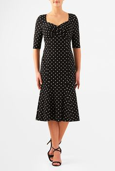 I <3 this Polka dot cotton knit flounce hem dress from eShakti