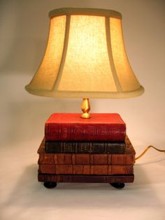 Book Lamp Antique Upcycled Books Linen Lamp Shade by FirstandFig