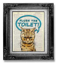 New Home Gift HOUSEWARMING Gift for Man, Kid Gift Idea Home Office Decor, DORM Wall Decor, Funny GIFT idea Bathroom Poster, Flush the Toilet by GoGoBookart on Etsy https://www.etsy.com/listing/172132520/new-home-gift-housewarming-gift-for-man