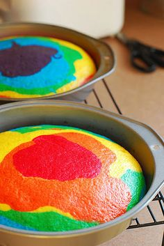 Tie~Dye Cake. Use Vanilla Cake mix, make as directed, then divide the batter into 6 bowls. Color each with a different gel color. Drop the batter by tablespoonfuls into the pans. Start at the outside of the pan and circle into the middle