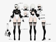 NieR: Automata 2B Nier Automata 2, Nier Automata Figure, Character Model Sheet, Female Character Concept, Character Modeling, Game Character, Game Design, Drawing, Game Concept