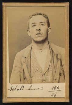 Alphonse Bertillon (French, 1853 - 1914) 'SchulŽ. Armand. 21 ans, nŽ le 28/2/73…