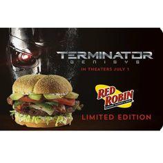 $25 Red Robin Gift Card : Includes Free Terminator Genisys Movie Ticket  http://www.mybargainbuddy.com/25-red-robin-gift-card-includes-free-hobbit-movie-ticket