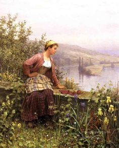 """ Brittany Girl Overlooking Stream"" -by Daniel Ridgway Knight.The Yellow & Violet Irises are so lovely!"