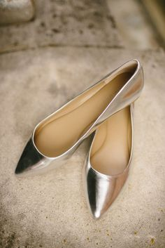 metallic, pointed-toe flats