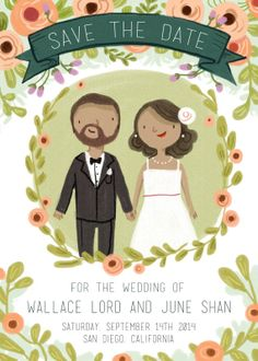 Sweet custom portrait Save the Date card illustration
