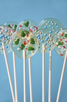These crystal clear lollipops are made with just two ingredients, leaving the door wide open for customization when it comes to the colorful add-ins. I've
