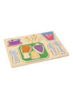 Dinner is served, and it comes with a side of educational play! Each piece of this colorful tray is part of a well-balanced meal, from a chicken and corn to grapes and carrots. The chunky, raised pieces are easy to grasp and can stand on their own, so little ones' fine motor skills and imagination can develop as they play. Let's eat!
