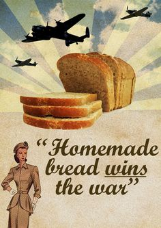 If the girl in the corner is any indication, homemade bread apparently had no carbs in 1945. #WWII