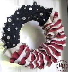 DIY Burlap & Denim Ruffled Patriotic Wreath by thescrapshoppeblog #DIY Wreath #Flag #thescrapshoppeblog