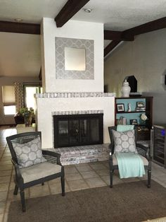 Diy faux stucco fireplace knock it off the live well network how to white wash brick painted brick fireplace reimagined by chelsie ponce designs how to paint a brick and stucco fireplace solutioingenieria Image collections