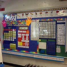 First grade interactive calendar board 1st Grade Calendar, Classroom Calendar, Classroom Board, Calendar Time, School Calendar, Math Classroom, Kindergarten Calendar Board, Kindergarten Math Wall, Bulletin Boards