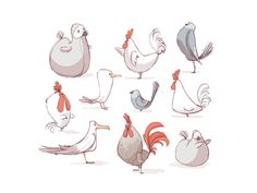 oiseaux + poule + dodo + mouette + pigeon ++  by lobsterfancy