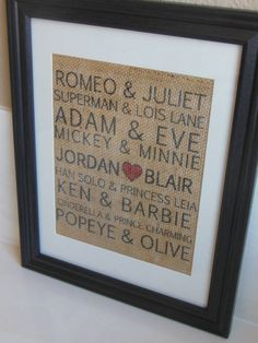 Famous Couples Valentines Burlap Print by BurlapByEverAfter, $20.00