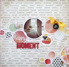 Happy Moment by Christine Drumheller using the Cocoa Daisy February kit, Color Swatch. Get our well-curated kit for $32.95 + S&H here: www.cocoadaisy.com #cocoadaisy #scrapbooking #kitclub #layout #graphic #blackandwhite